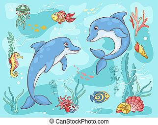 dois, mar, golfinhos
