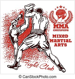 dois, marcial, lutadores, misturado, arts., partida