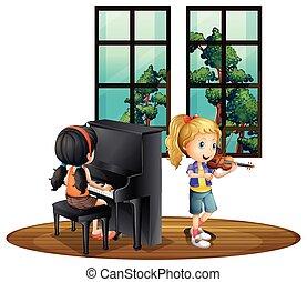 dois, menina, toque música, em, sala