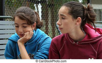 dois, meninas adolescentes