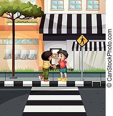 dois meninos, esperando, cruzar, a, estrada