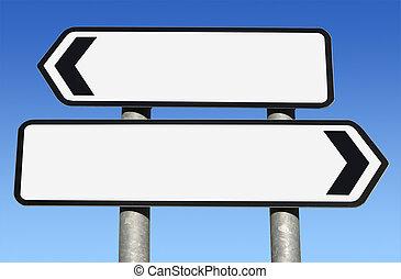 dois modo, em branco, sinal estrada, com, cópia, space.