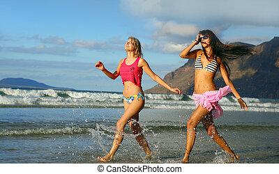 dois, mulher bonita, ligado, praia