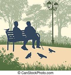 dois, mulher idosa, silhuetas, parque