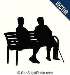 dois, mulher idosa, silhuetas, sentando, ligado, um, banco