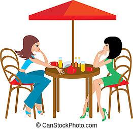 dois, mulher jovem, em, café