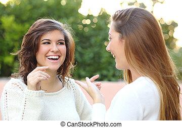 dois, mulheres jovens, falando, ao ar livre