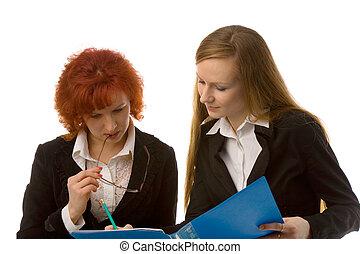 dois, mulheres negócios