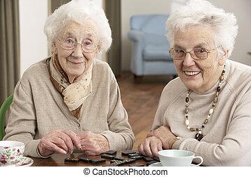 dois, mulheres sêniors, dominós jogando, em, cuidado dia,...