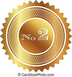 dois, número, selo ouro