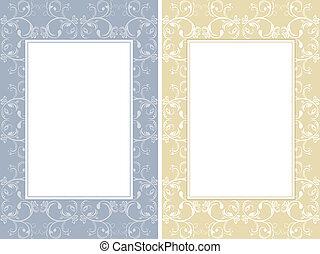 dois, ornamental, bordas