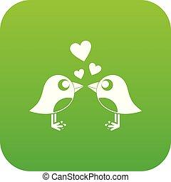 dois pássaros, com, corações, ícone, digital, verde