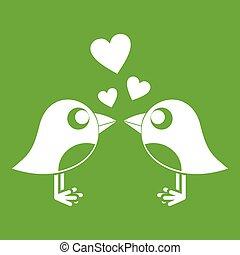dois pássaros, com, corações, ícone, verde