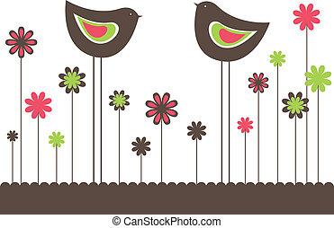 dois pássaros, em, love., vetorial