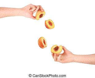 dois, pêssegos, corte, em, fêmea passa