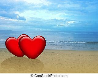 dois, pôr do sol, corações, durante, praia, vermelho