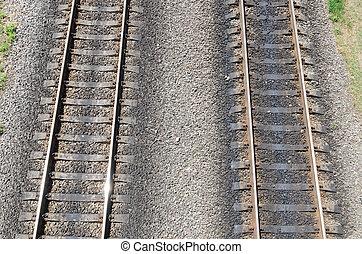 dois, paralelo, railroads., vista aérea