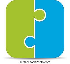 dois pedaço, quebra-cabeça, diagrama