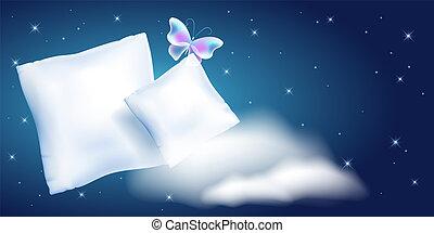 dois, pena, travesseiro, contra, a, estrelado, céu noite, e,...