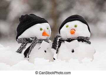 dois, pequeno, bonecos neve