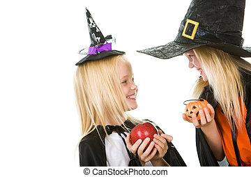 dois, pequeno, bruxas