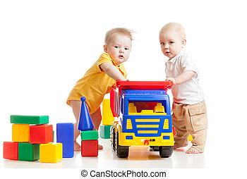 dois, pequeno, crianças, jogue, bloco, brinquedos
