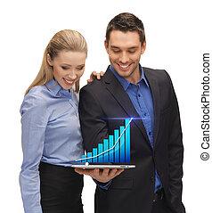 dois, pessoas negócio, mostrando, pc tabela, com, gráfico