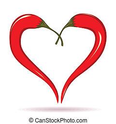 dois, pimentas pimenta-malagueta, formando, um, forma, de,...