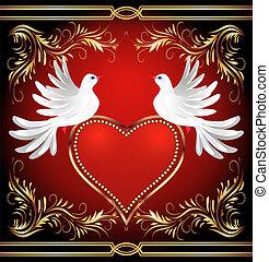 dois, pomba, e, coração