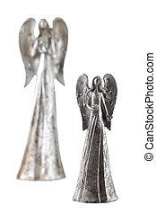 dois, prata, anjo, estatueta
