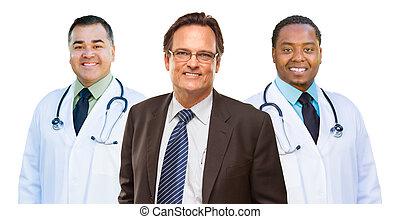 dois, raça misturada, doutores, atrás de, homem negócios, isolado, branco