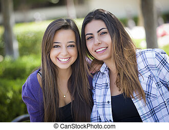 dois, raça misturada, femininas, amigos, retrato