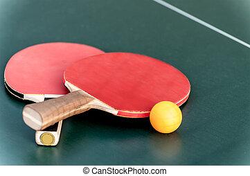 dois, raquete tênis, e, um, bola, tabela