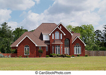 dois relato, tijolo, residencial, lar