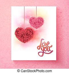 dois, romanticos, floral, corações, -, amor, tu