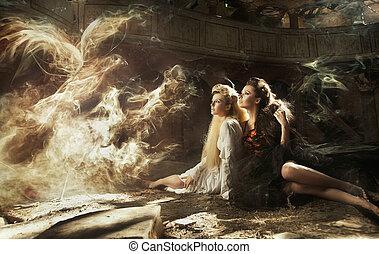 dois, senhoras, e, magia, pássaro