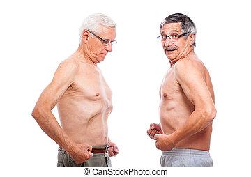dois, seniores, comparando, figura