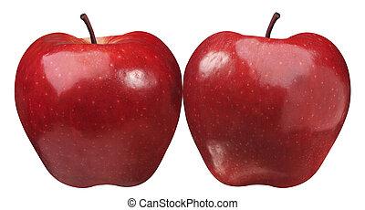dois, simetrical, maçã