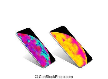 dois, smartphones, telefone móvel, dispositivo, isolado, com, shadow., stylized, imagem, de, terra, e, a, sun., ilustração