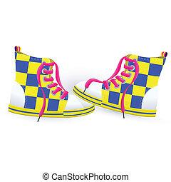 dois, sneakers, amarela