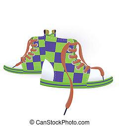 dois, sneakers, verde