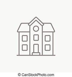 dois storey, casa desprendida, linha, icon.