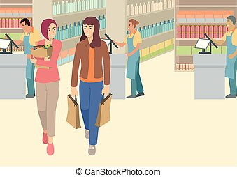 dois, supermercado, chit conversam, tendo, mulheres