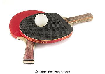 dois, tênis tabela, raquetes, e, um, bola, isolado