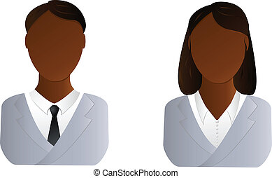 dois, usuários, ícone, -, homem africano, e, mulher