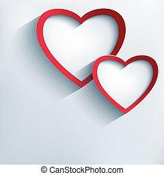 dois,  Valentine, fundo, corações, elegante,  3D