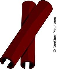 dois, vara canela, tempero, ícone, isolado