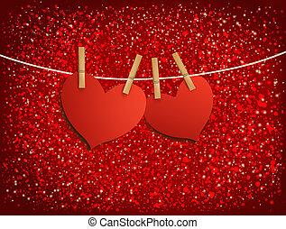 dois, vermelho, amando, corações, pendurar, um, rope., vetorial, ilustração