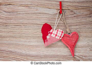 dois, vermelho, penduradas, corações
