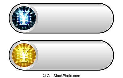 dois, vetorial, prata, botões, com, símbolo yen